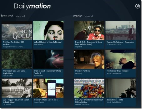 Dailymotion Windows 8 app