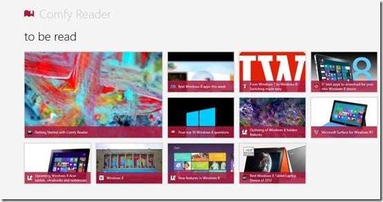 Comfy Reader- Main Screen