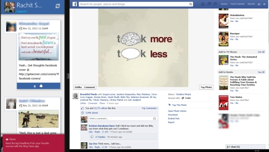 Feedlets for Facebook- Open in browser