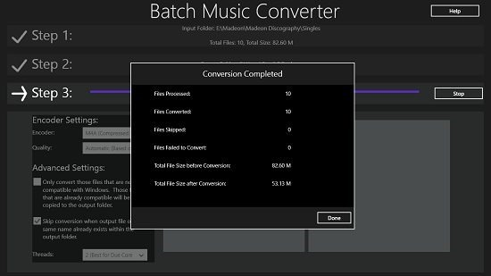 Batch Music Converter Conversion Completed
