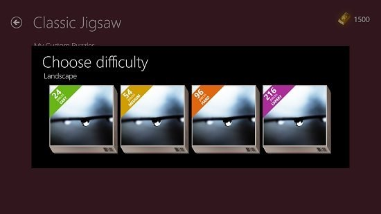 Microsoft Jigsaw Choose difficulty