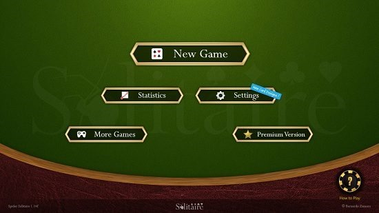 Spider Solitaire HD Main Screen