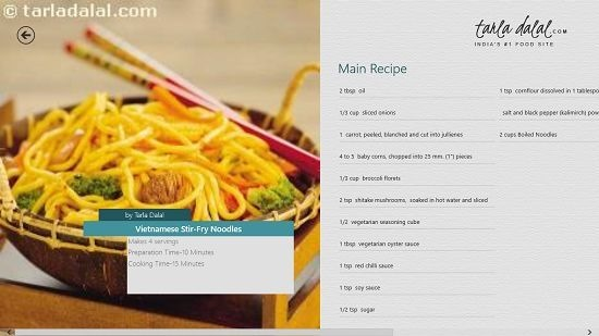 Tarla Dalal's Kitchen Recipe interface
