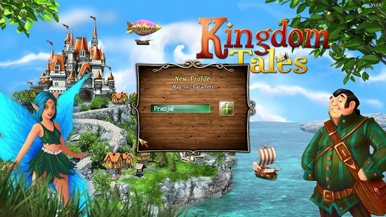 Kingdom Tales main screen enter player name