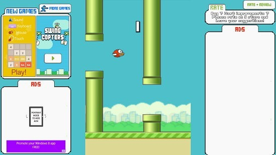 Flappy Bird New Game in progress